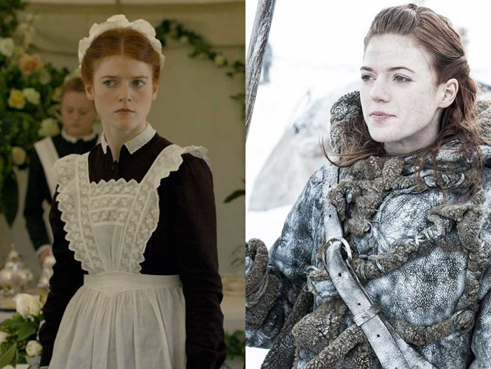 </p><p><b>Rose Leslie</b> as Gwen Dawson in <em>Downton Abbey</em>, and as Ygritte in <em>Game of Thrones</em>.