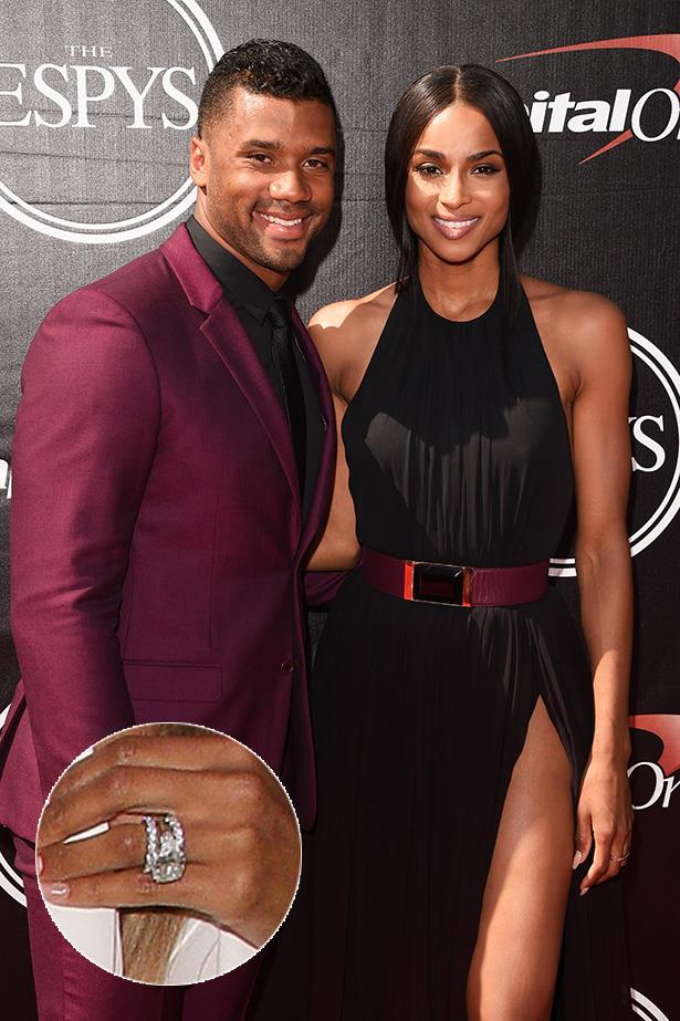 ***Ciara.***<br><br> Following her wedding to Russell Wilson, Ciara showed off her two new eternity bands that accompanied her huge engagement ring. Brings a whole new meaning to 'wedding band stack'.
