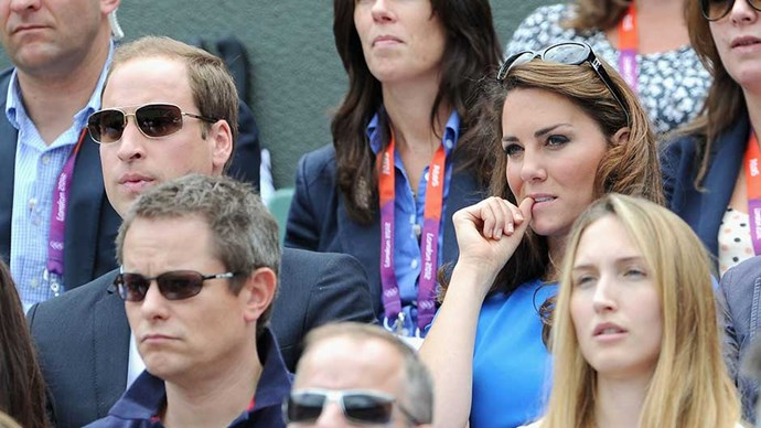 Prince William and Kate Middleton watch the women's tennis at the 2012 Olympics in London