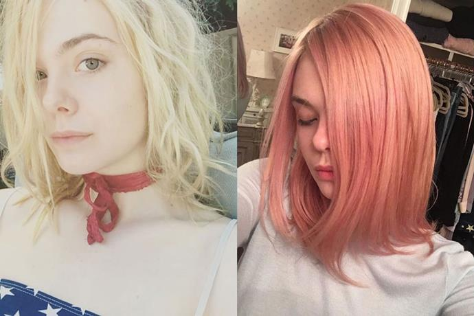 <p> <strong>Elle Fanning</strong></p> <p>Ethereal princess Elle Fanning debuted her brand new dusty pink bob on Instagram today. We think the young actress pulls off the look better than most.</p>