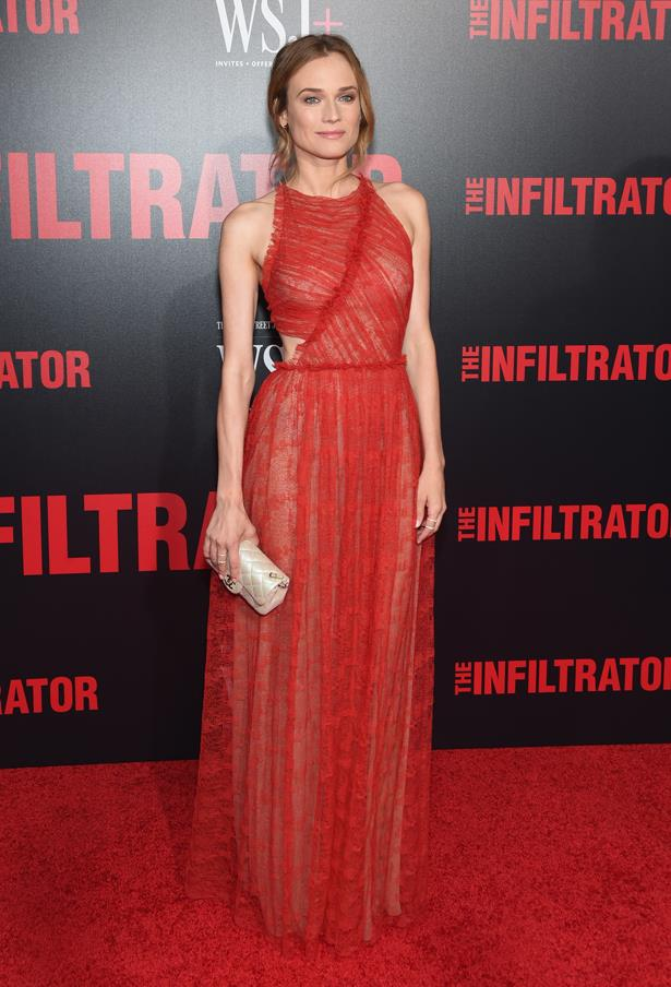 Diane wore this sheer red Jason Wu gown to the premiere of 'The Infiltrator' in New York.
