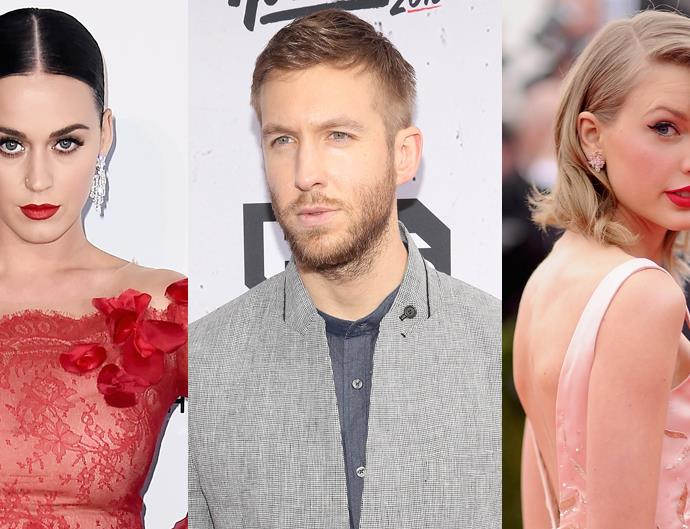 Taylor Swift, Katy Perry and Calvin Harris.
