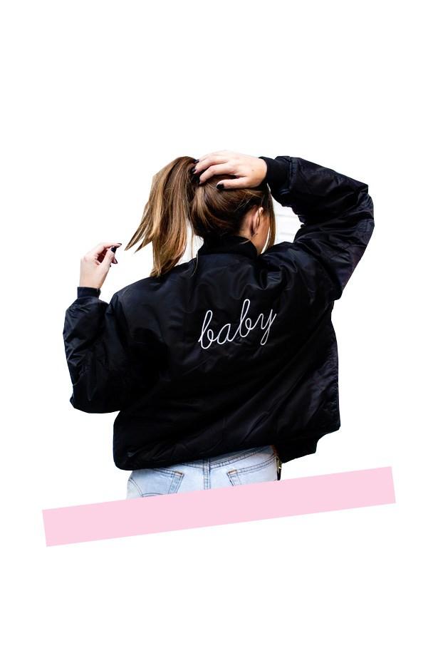 "Jacket, $275, <a href=""http://www.danielleguiziony.com/women/dg-custom-personalized-bomber-jacket"">Danielle Guizio</a>."