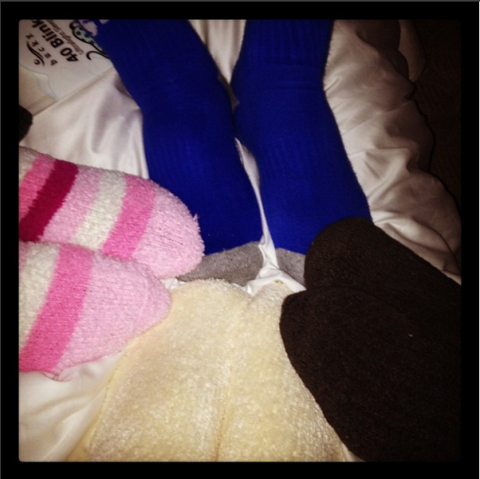 """<strong>BELLA HADID'S FIRST INSTAGRAM</strong><br><br> Four and a half years ago Bella showed off her #squad with this Instagram captioned, """"socks!!!!!!!!!!!"""" Who doesn't miss the days when socks got you so excited as to warrant 11 exclamation points? Credit: <a href=""""https://www.instagram.com/bellahadid/?hl=en"""">@bellahadid</a>"""