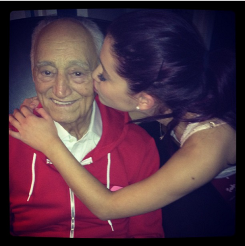"""<strong>ARIANA GRANDE'S FIRST INSTAGRAM</strong><br><br> Apparently debuting your Instagram with grandparents is a trend, because Ariana posted this sweet photo about five years ago with the caption, """"Me & grandpa!!! He's wearing his Ariana army hoodie! Hehe... I love him more than anything."""" Ariana's grandfather died in 2014.<br><br> Credit: <a href=""""https://www.instagram.com/arianagrande/?hl=en"""">@arianagrande</a>"""