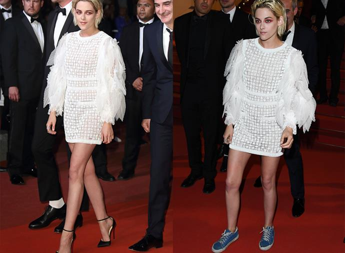 How to go from Chanel pumps to beat-up Vans and still look good: a masterclass by Kristen Stewart.