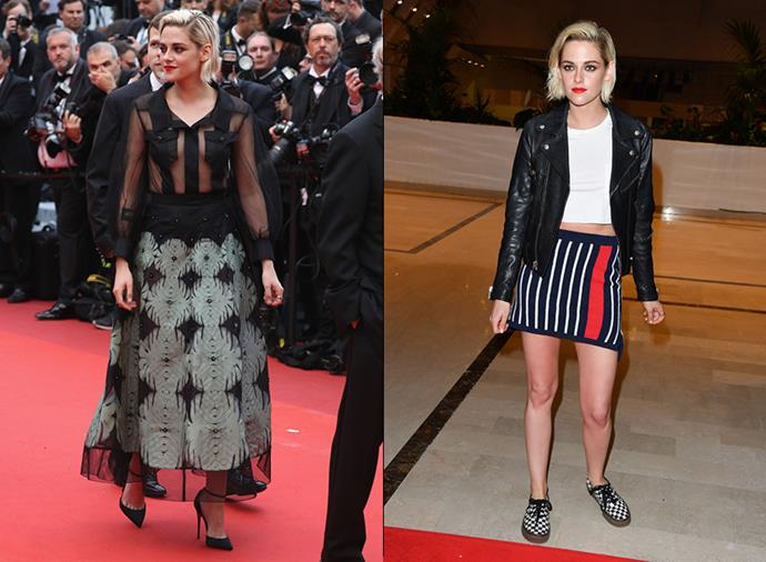 Kristen did another complete switch at the Cannes premiere of Cafe Society, where she went in in Chanel and came out in a leather jacket and sneakers.