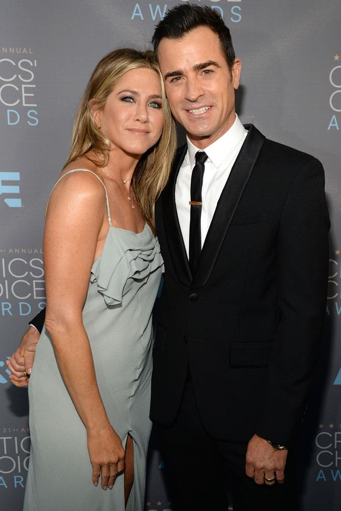 **Jennifer Aniston and Justin Theroux**  While they first met in 2008, Aniston and Theroux grew close on the 2012 set of *Wanderlust*, and started dating the following summer. They married in a surprise wedding ceremony in 2015.