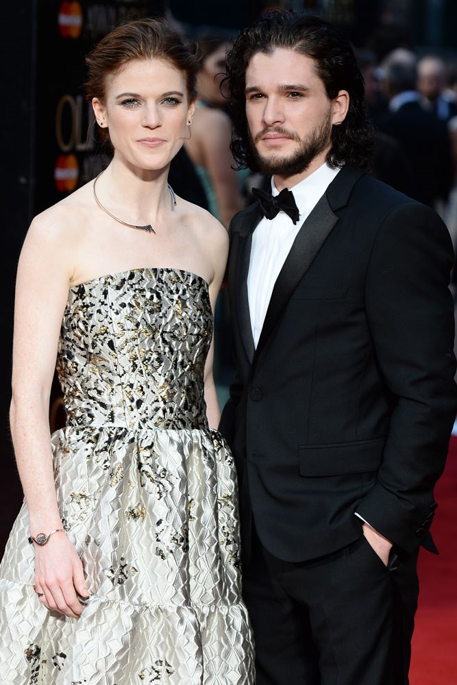 **Rose Leslie and Kit Harington**   The co-stars fell for each other while filming *Game Of Thrones* (you might have heard of it?), and, as of October 2017, are engaged to be married.