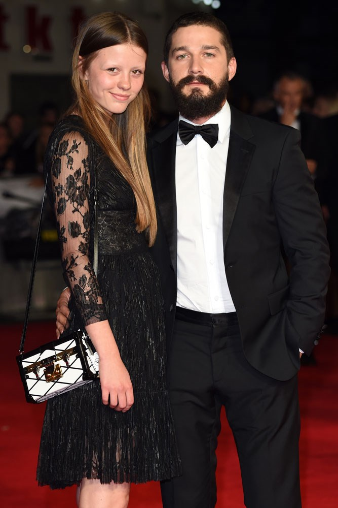 **Mia Goth and Shia LaBeouf**  Goth and LaBeouf didn't have the most traditional of beginnings: the couple met while filming the 2013 film *Nymphomaniac: Volume I and II.*