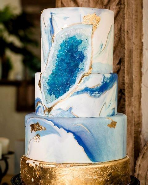 """<P> GEODE<P> <P> If you're into crystals, then you're probably going to be into geode cakes. Bakers use crystallised sugar and food colouring to make these beautiful formations. <p> <p> <a href=""""https://www.instagram.com/Shazdeh_cakes/"""">Shazdeh Cakes</a>."""