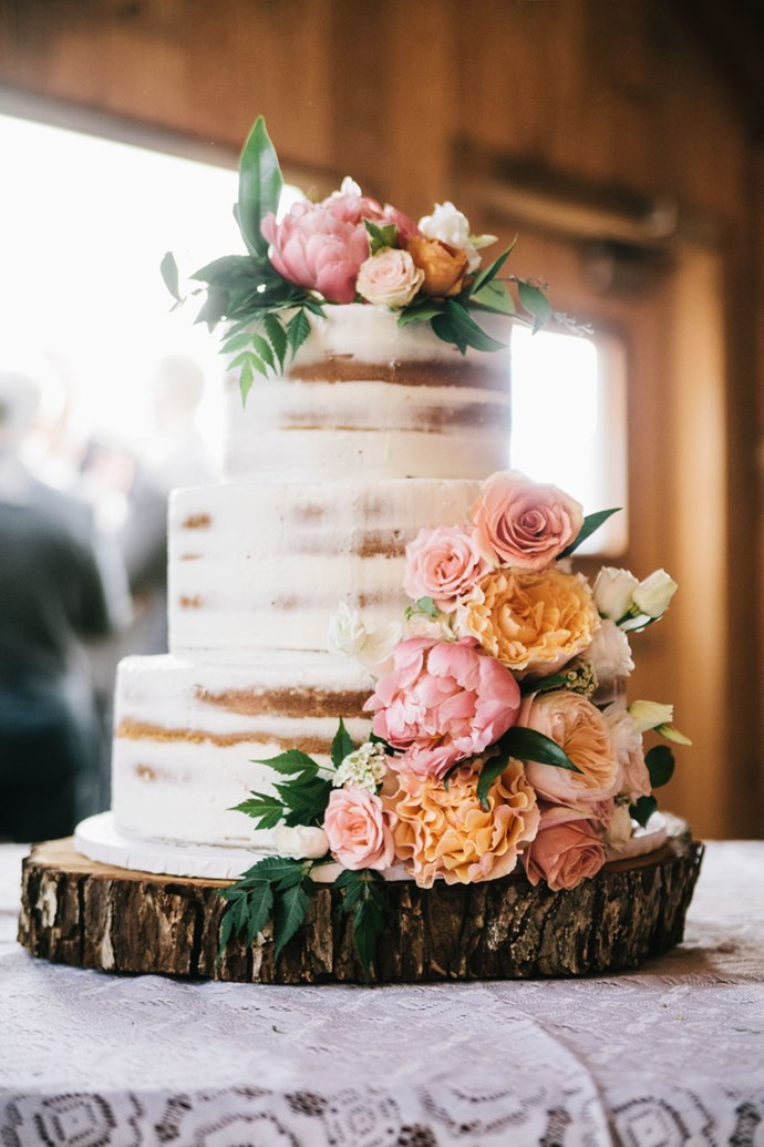 """<p> GET NAKED<p> <p> The concept of the naked cake is simple: strip away all the unnecessary fondant, icing and toppings to get the perfect mix of simple and rustic. Yes please.<p> <p> <a href=""""http://www.altaregoweddings.com/"""">Alter Ego Weddings</a>."""
