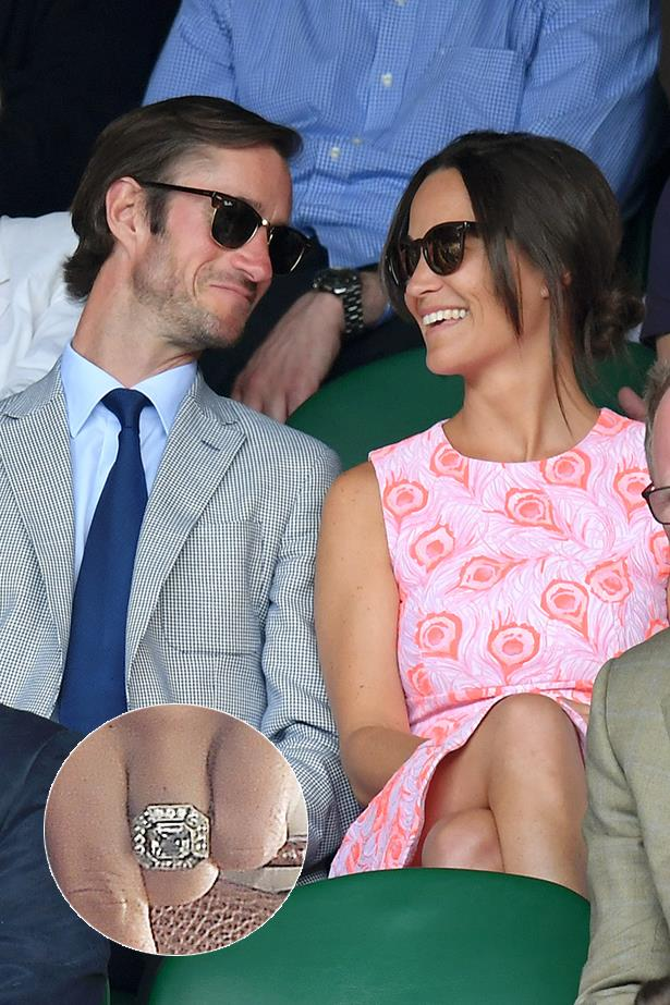 ***Pippa Middleton.***<br><br> According to diamond experts, Pippa Middleton's Art Deco ring centers around an 'Asscher cut diamond', surrounded by 'channel-set' smaller diamonds and is set in either platinum or white gold. The ring's estimated values comes in around $350,000 AUD.
