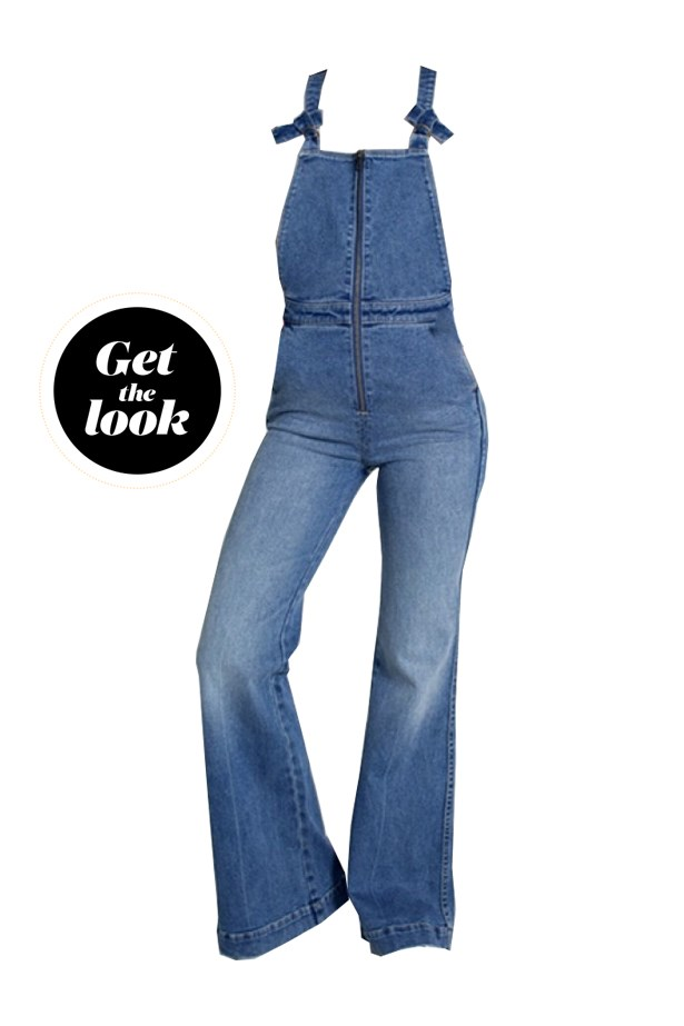 "Overalls, $99.95, <a href=""http://rollas.com.au/womens/eastcoast-flare-overall-salty-rain.html"">Rolla's</a>."