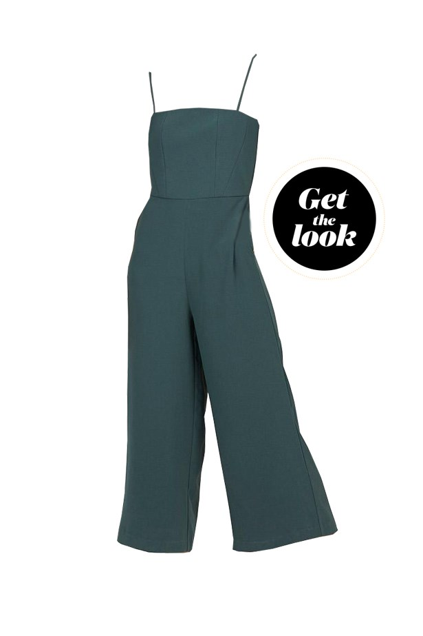 "Overalls, $109, <a href=""https://www.generalpants.com.au/shop-womens/alice-in-the-eve/playsuits/stacey-strap-jumpsuit-clover-1000060365-030"">Alice In The Eve at generalpants.com</a>."