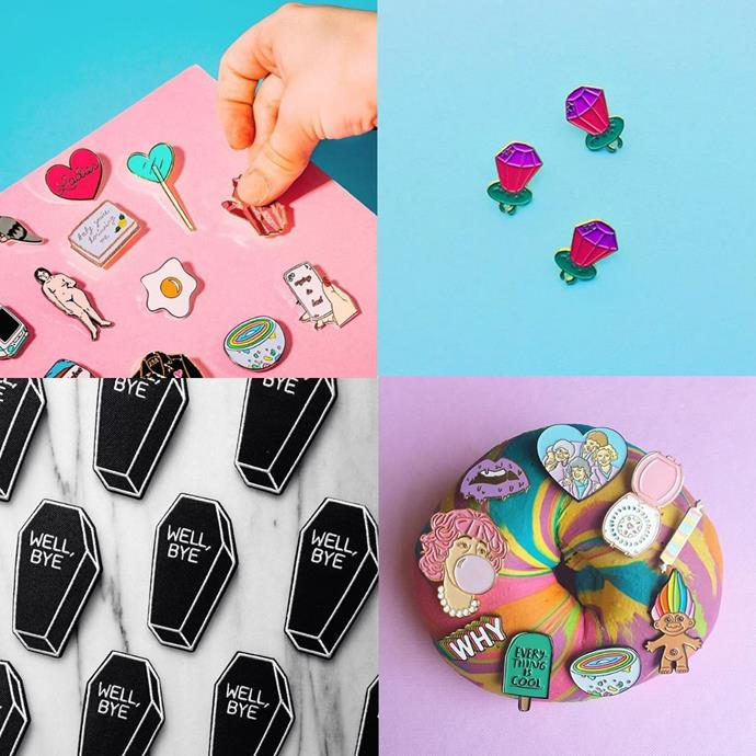 """<p> <a href=""""https://www.instagram.com/sickgirlsofficial/"""">SICK GIRLS</a><p> <p> Canada-based 'Sick Girls' have a sweet range of patches and pins amongst their selection of accessories, clothing and prints in body-positive, kitsch designs."""
