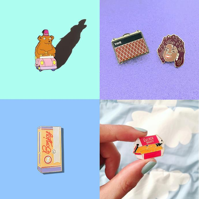 """<p> <a href=""""https://www.instagram.com/charmingafternoon/"""">CHARMING AFTERNOON</a><p> <p> Sydney-based artists Charming Afternoon's simple and sleek enamel pins are often music influenced, and always sweet."""