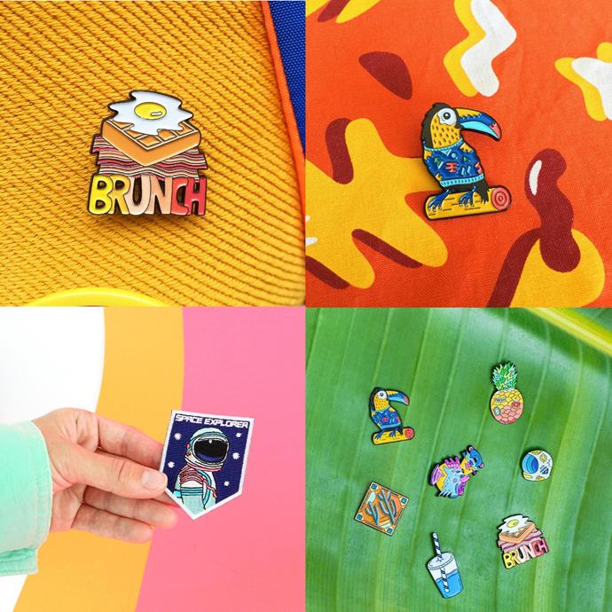 """<P> <a href=""""https://www.instagram.com/mokuyobithreads/"""">MOKUYOBI THREADS</a><P> <P> Mokuyobi's bright and punchy pins and patches are the ideal addition to any and all outerwear."""