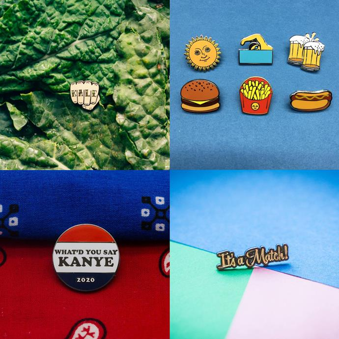"""<P> <a href=""""https://www.instagram.com/pintrill/"""">PIN TRILL</a><p> <p> Brooklyn's Pin Trill is all about old school, pop culture vibes. Think: sailor tattoos, Donald Trump references and '90s slogans."""