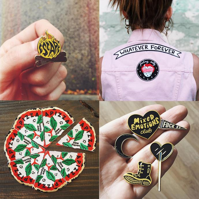 """<P> <a href=""""https://www.instagram.com/shopstrangeways/"""">STRANGE WAYS</a><P> <P> Strange Ways' pins and patches are designed by 'indie creatives' with a flair for cute, lady-friendly culture references."""