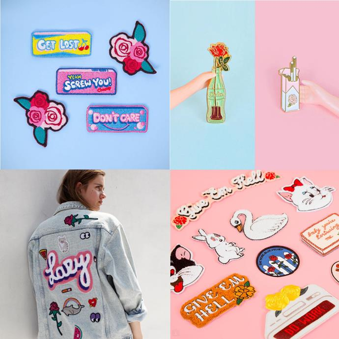 """<P> <a href=""""https://www.instagram.com/lazyoafs/"""">LAZY OAF</a><P> <P> London's Lazy Oafs offer patches and pins alongside their usual range of cute, pink-centric clothing."""
