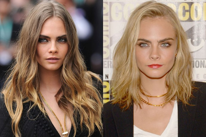 <p> <strong>Cara Delevingne</strong></p> <p>Cara Delevigne debuted a shorter, lighter blonde do appearing at Comic Con for her upcoming movie Suicide Squad.