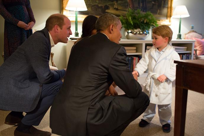 When he met President Obama in his tiny monogrammed bathrobe.