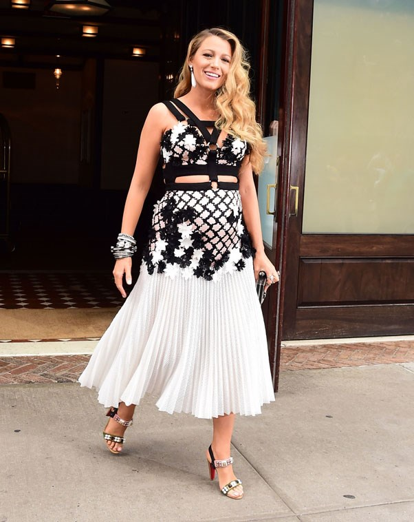 Blake took maternity style to a whole new level in this bondage-inspired Emanuel Ungaro dress and studded Christian Louboutin sandals for her appearance on The Tonight Show.