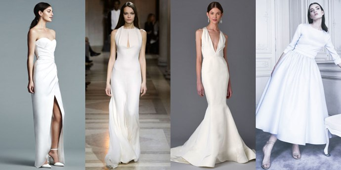 "</p><p><b>Aries</b><br><br> Wedding dresses aren't typically an Aries style. This is a no-fuss, go-getter sign. Most Aries women want something that doesn't have too much lace or too much detail. This is the girl who was part of the boy's club growing up–her wedding gown should be simple, clean and easy to get on and off. An Aries loves things with clean lines and sharp angles. This bride would be one to change into something else later in the night that's easier to dance in. A fire sign with lots of passion, Aries are full of energy; they're going to want to dance all night with their friends. Aries are attracted to sharp whites over creams– think anything that borders on sporty and stay away from crinoline or too many layers of tulle. Aries brides definitely do not like anything that hearkens back to antiquity or is reminiscent of a time bygone–this is a bride whose all about keeping things modern.<br><br> From left: <a href=""http://www.jmendel.com/spring-2017-bridal-lookbook"">J.Mendel Bridal</a> Spring 2017; <a href=""http://www.carolinaherrera.com/store-locator/"">Carolina Herrera</a> Fall 2016; Marchesa Bridal Spring 2017; <a href=""http://www.delphinemanivet.com/prefall-collection"">Delphine Manivet</a> Pre-Fall 2016 Pret-a-Porter."