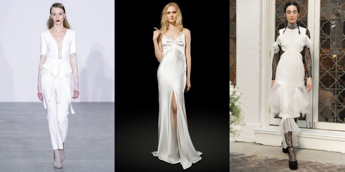 "</p><p><b>Scorpio</b><br><br> Scorpio is a water sign, known for its depth, intensity and its all-or-nothing quality. They're not afraid of being a bit edgy when it comes to wedding dresses and skewing away from the expected and the norm. Scorpio isn't necessarily boho–she's almost sexy-edgy and a little bit rock-and-roll. This bride is going for an accent whether it's an Asian influence, or a bit of punk inspiration; she does not mind making a statement that's a bit provocative. You may also find Scorpio wanting to accessorize with a choker, a risqué stiletto or an ankle boot. Only Scorpios look good in Scorpio looks–she can pull off things other signs just can't.<BR><BR> From left: <a href=""http://antonioberardi.com/"">Antonio Berardi</a> Fall 2016; <a href=""http://elizabethfillmorebridal.com/"">Elizabeth Fillmore</a> Bridal Spring 2017; <a href=""https://houghtonnyc.com/"">Houghto</a>n Bridal Spring 2017."