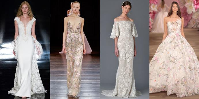 "</p><p><b>Taurus</b><br><br> Taurians love wedding dress shopping because they're ruled by Venus, the patron of the arts and all beauty. This is a sign that can really appreciate textures and fabrics–and wedding dresses that feel as good on the inside as they look on the outside. Soft silks that swish up against the legs and fabrics that are nice to the touch are key for a Taurus bride. This bride loves layers and things that are very luscious to the eye and to the touch. A Taurus bride will also love florals–this is a sign that can really enjoy the height of romantic beauty. Taurus rules the neck, and they tend to have beautiful shoulders and decollates–we're going to want to show that off. This sign is 100% feminine and loves time-honored things, not trends. This bride wants something of quality, something that they are going to be able to pass down. A Taurus has high expectations; everything needs to be top notch.<BR><BR> From left: <a href=""http://reemacra.com/"">Reem Acra</a> Bridal Spring 2017; <a href=""http://naeemkhan.com/"">Naeem Khan</a> Bridal Spring 2017; Marchesa Bridal Spring 2017; <a href=""http://inesdisanto.com/"">Ines di Santo</a> Bridal Spring 2017."