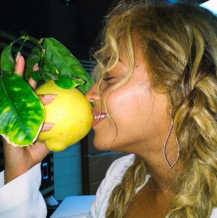 Beyoncé with a lemon