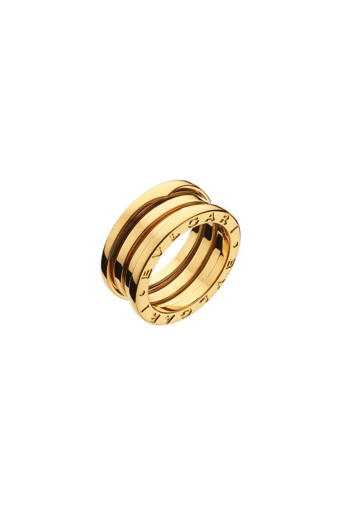 "<a href=""http://www.bulgari.com/"">18K Yellow-Gold 'Bzero1 3-Band' Ring, $2,800, Bulgari</a>"