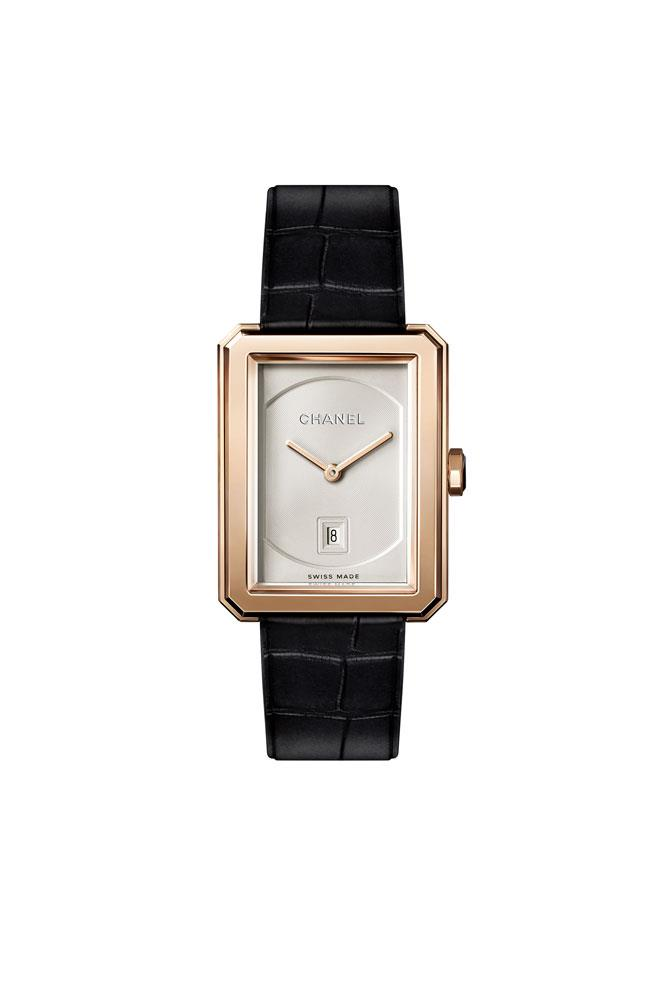 18K Beige-Gold 'Boy.Friend' Timepiece With Black Alligator Strap, $15,960, Chanel (call 1300 242 635 for stores)