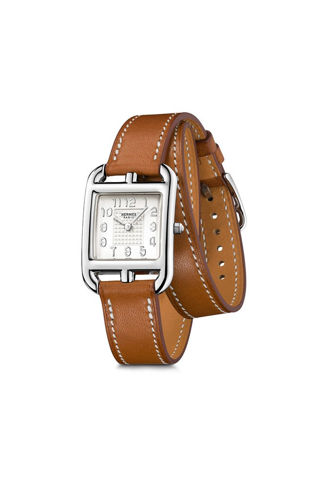 """<a href=""""http://australia.hermes.com/watches/cape-cod/cape-cod-pm-17397.html#"""">Stainless Steel And Calfskin Leather 'Cape Cod PM' Watch, $3,790, Hermès</a>"""