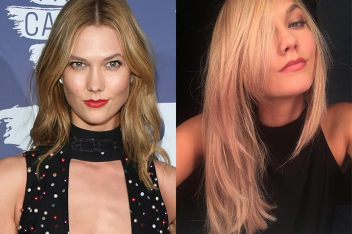 """<p> <strong>Karlie Kloss</strong></p> <p>Karlie Kloss showed off her new platinum blonde hair colour on Instagram last night, captioning the picture, """"I'm already having more fun"""". </p>"""