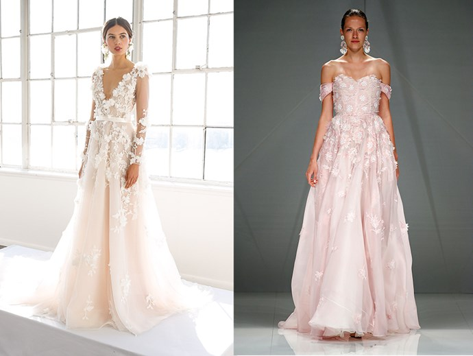 <P> APPLICABLE APPLIQUÉS<P> <p> Give your dress a 3D twist with some additional appliqués in floral designs. <p> <P> Marchesa (l), Naeem Khan (r).
