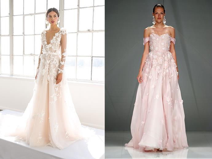 <P> APPLICABLE APPLIQUÉS<P> <p> Give your dress a 3D twist with some additional appliqués in floral designs. <p> <P> Marchesa (l), Naeem Khan (r).
