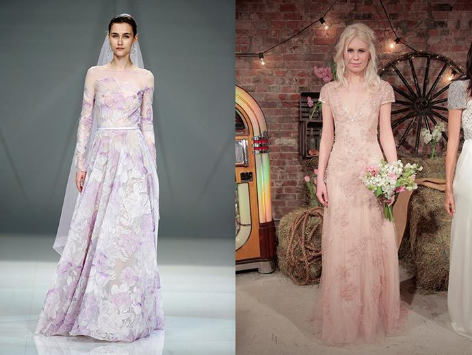 <P> NOT QUITE WHITE<p> <p> If you find the all white tradition a little outdated, go for something in a little pastel toned hue. Purples, pinks, golds or peaches are perfect for weddings. <p> <p> Naeem Khan (l), Jenny Packham (r).