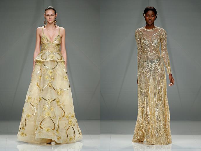 <P> GOLDEN GIRLS<p> <p> Go for gold in a matte or sparkling hue. <p> Naeem Khan (l, r).