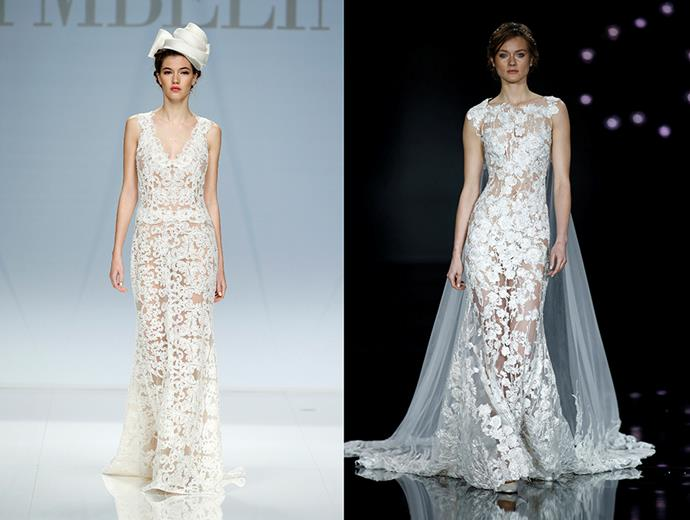 <P> NEARLY NAKED<p> <p> Take a cue from the Hollywood crowd and sheer your dress down. Sexy, sultry but not so subtle. <p> <p> Cymbeline (l), Pronovias (r).