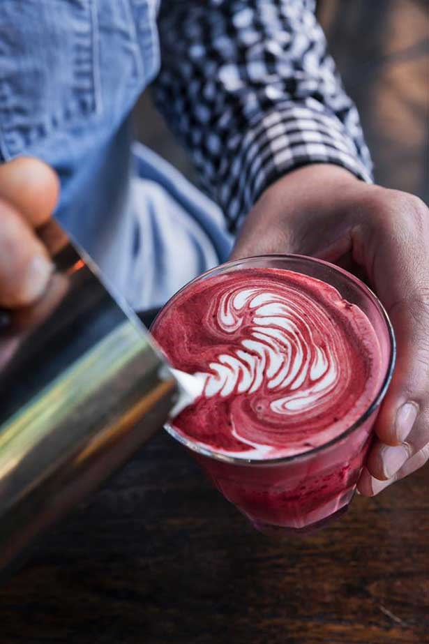 A red velvet latte from Sydney cafe Local Mbassy