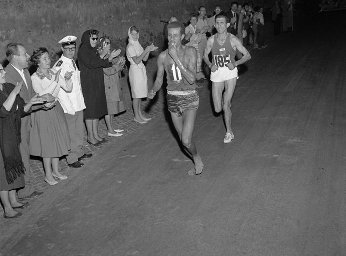 "<P> <strong>1960, ROME: NO SHOES NEEDED</strong><p> <p> In 1960, ""barefoot"" style running wasn't a trend. But Ethiopian Abebe Bikila made barefoot running the talk of the entire world when he won the marathon sans footwear—which, despite all the nice shoes he'd been sent by Adidas, was actually the way he had trained for the race."