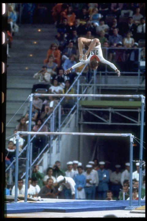 "<P> <strong>1972, MUNICH: THE KORBUT FLIP</strong><p> <p> 1972 was the year that Soviet gymnast Olga Korbut performed a now-banned gymnastics move known as the ""Korbut flip."" (On the uneven bars, the Korbut flip involves the gymnast standing on the high bar, doing  a back flip and then re-grasping the bar.) It's now outlawed because of the risk in performing it, but man, did it get people talking back then."