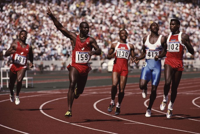 <p> <strong>1988: SEOUL: BEN JOHNSON</strong><p> <p> Canadian sprinter Ben Johnson won the 100-meter race (that's him with his arm up in the air, celebrating) but the sweet feeling of victory didn't last long. He was disqualified for doping three days later and promptly stripped of his medal.