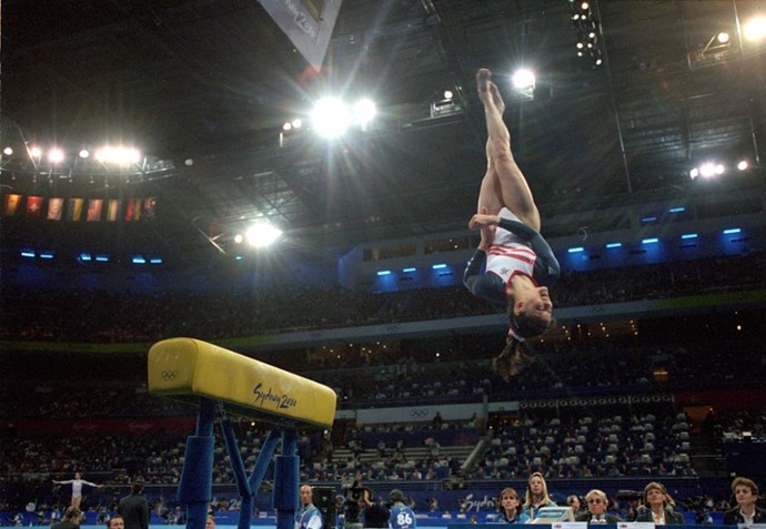 <P> <strong>2000, SYDNEY: MEASURING UP</strong><p> <p> True: that gymnast is high up in the air. Also true: that vault is low to the ground...too low. At the 2000 Olympics, Australian gymnast Alanna Slater speculated that the vault wasn't positioned at the right height, and when they measured it, she was right: It was two inches lower than it should've been, which is why it was messing with people's routines. Ultimately, five gymnasts were given the option to redo the event, but it definitely caused disruption and thew many off their game before the error was caught.