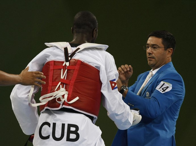 <p> <strong>2008, BEIJING: OFFICIAL ATTACK</strong><p> <p> After he was disqualified for going overtime on an allotted time-out,  Cuban Taekwondo athlete Angel Matos put his martial arts skills to the wrong use and attacked two officials. Both he and his coach were banned from the Olympics...for life.