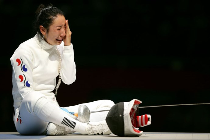 <P> <strong>2012, LONDON: THE WAITING GAME</strong><p> <p> South Korean épée fencer Shin Lam had a one-point lead over German Britta Heidemann in the semifinal match-up when the clock accidentally gave the German a split-second advantage. The time glitch was enough to essentially give Heidemann the victory over Lam, and then―since the official rules of fencing state that once you leave the mat you accept the result―Lam had to stay on the mat while judges reviewed their appeal...for an hour. Even still, in the end it was ruled a German victory.