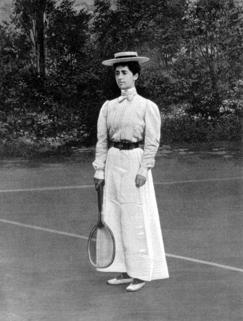 <p> <strong>1900</strong><p> <p> Helen Provost won the silver medal at the tennis women's singles in Paris, and in a full-length skirt, no less. Females taking part had no choice but to play in ankle-length dresses with the long sleeves and high necks of the time period, plus shoes with a heel.