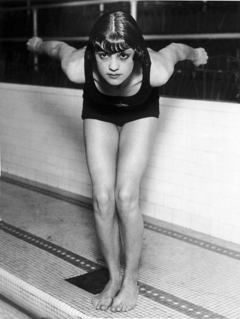 <p> <strong>1928</strong><p> <p> U.S. swimmer Jane Fauntz ready to plunge into the pool in Chicago, 1928. At this time, women's swimsuits are becoming more streamlined for water sports, and females are no longer prohibited from the sport for showing their legs (like they were in the 1908 Stockholm Olympics).
